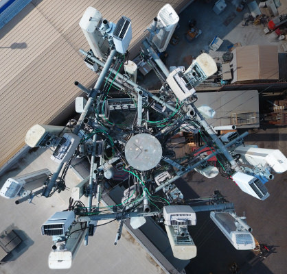 Aerial view of cell phone tower
